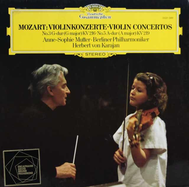 ムター&カラヤンのモーツァルト/ヴァイオリン協奏曲第3&5番 独DGG 3141 LP レコード