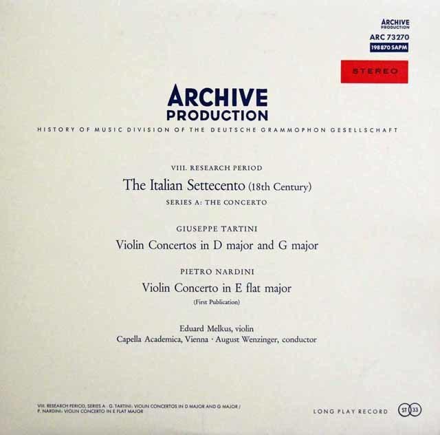 メルクスのタルティーニ & ナルディーニ/ヴァイオリン協奏曲集 独ARCHIV 3141 LP レコード
