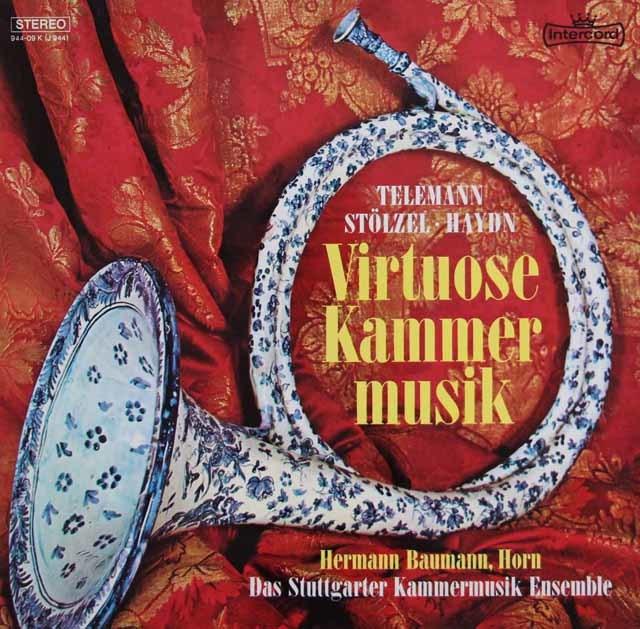 バウマンのテレマン/リコーダー、ホルンと通奏低音の為の協奏曲ほか 独Intercord 3141 LP レコード