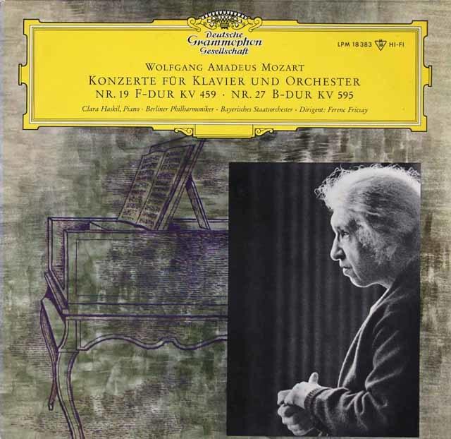 ハスキル&フリッチャイのモーツァルト/ピアノ協奏曲第19&27番 独DGG 3142 LP レコード