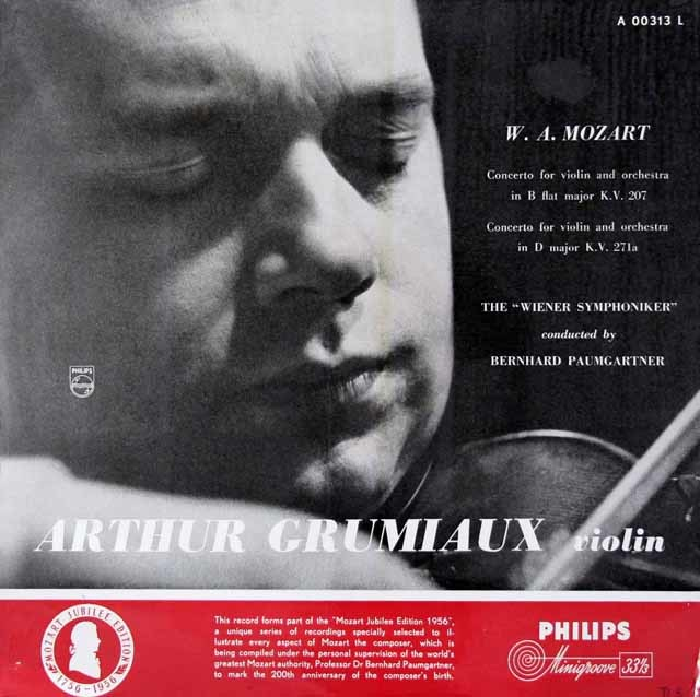 グリュミオー&パウムガルトナーのモーツァルト/ヴァイオリン協奏曲第1&7番 蘭PHILIPS 3142 LP レコード