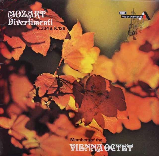 ウィーン・オクテットのメンバーによるモーツァルト/ディヴェルティメント第17&1番 英DECCA(Ace of Diamonds) 3142 LP レコード