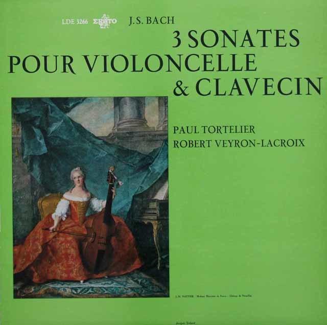 トルトゥリエ&ヴェイロン=ラクロワのバッハ/チェロとチェンバロのためのソナタ第1~3番 仏ERATO 3142 LPレコード