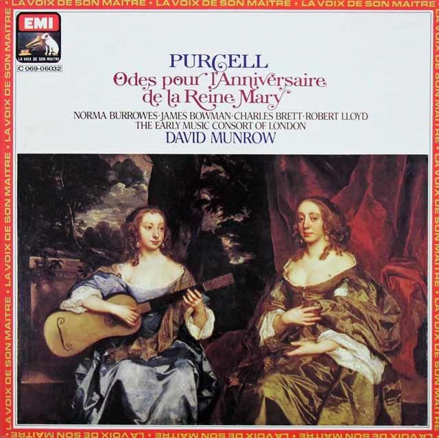 マンロウ、ホグウッドらのパーセル/「メアリー女王の誕生日のための領歌」 仏EMI 3142 LP レコード
