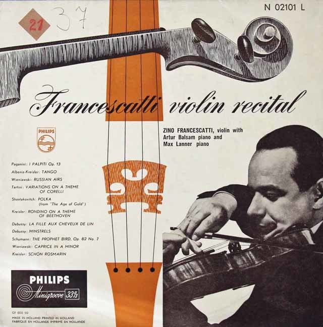 ジノ・フランチェスカのヴァイオリン・リサイタル 蘭PHILIPS 3142 LP レコード