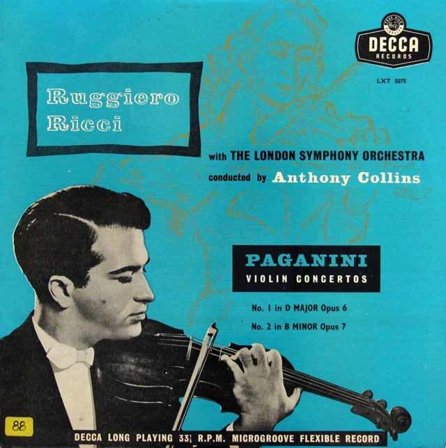 リッチ&コリンズのパガニーニ/ヴァイオリン協奏曲第1&2番 英DECCA 3143 LP レコード