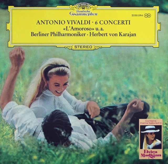 カラヤンのヴィヴァルディ/ヴァイオリン協奏曲「恋人」ほか 独DGG 3144 LP レコード