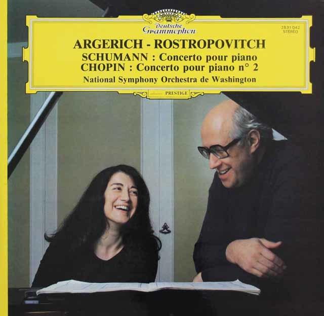 アルゲリッチ&ロストロポーヴィチのシューマン&ショパン/ピアノ協奏曲集 仏DGG 3144 LP レコード