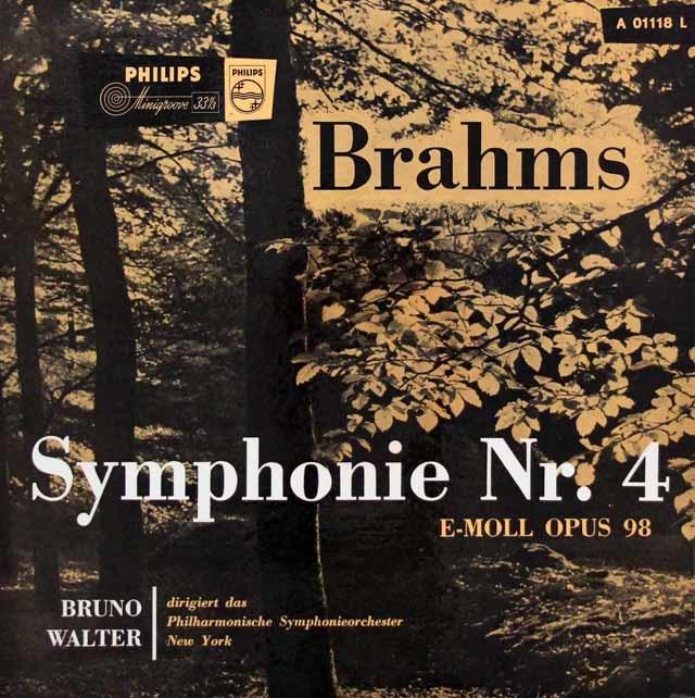 ワルターのブラームス/交響曲第4番 独PHILIPS 3144 LP レコード