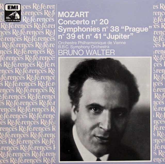 ワルターのモーツァルト/ピアノ協奏曲第20番&交響曲第38番「プラハ」、第39番、第41番「ジュピター」 仏EMI(VSM) 3144 LP レコード