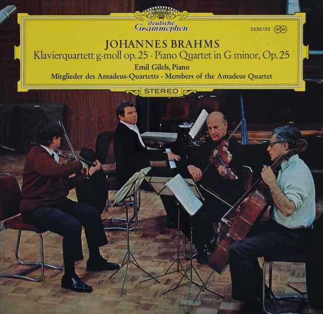 ギレリス&アマデウス四重奏団メンバーのブラームス/ピアノ四重奏曲第1番 独DGG 3145 LP レコード