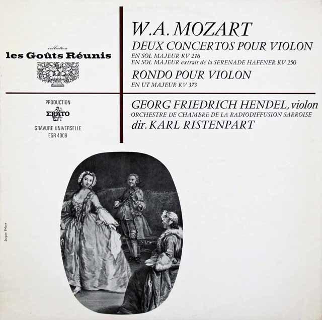 G.F.ヘンデル&リステンパルトのモーツァルト/ヴァイオリン協奏曲第3番ほか 仏les Gouts Reunis(ERATO) 3146 LP レコード