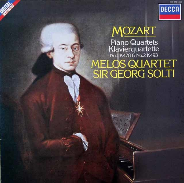 ショルティ&メロス四重奏団のモーツァルト/ピアノ四重奏曲第1&2番 蘭DECCA 3146 LP レコード