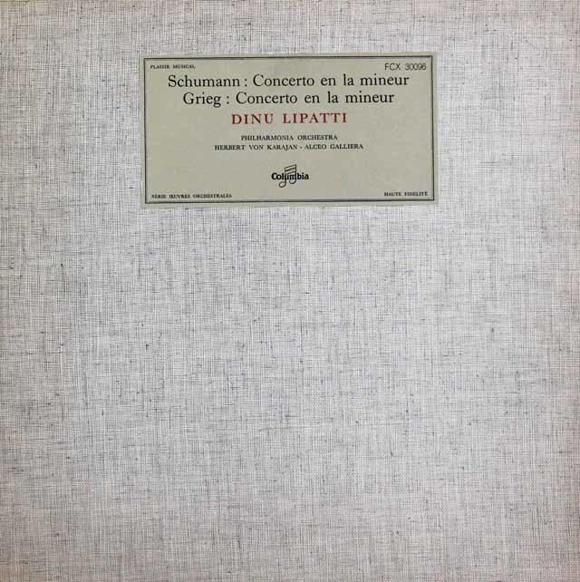 リパッティ&カラヤンほかのシューマン&グリーグ/ピアノ協奏曲 仏Columbia 3146 LP レコード