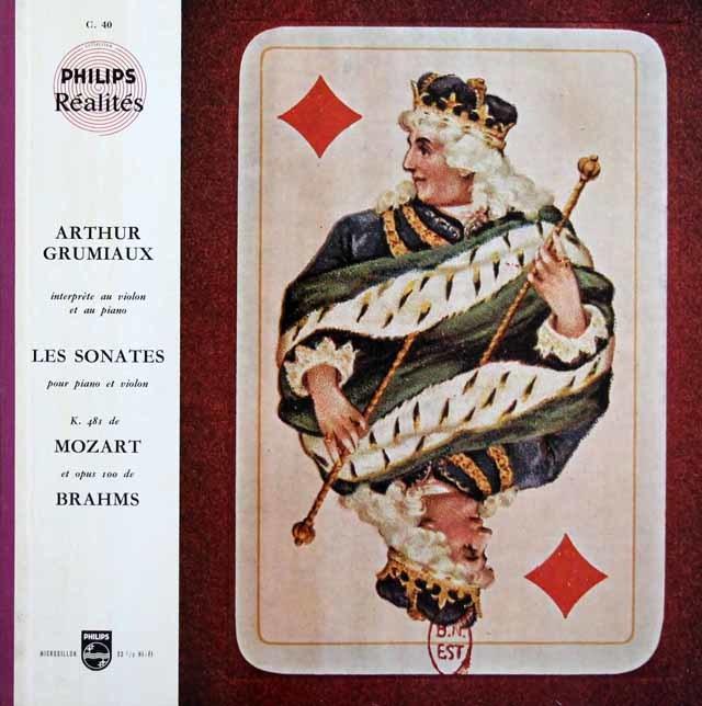 グリュミオーのモーツァルト&ブラームス/ヴァイオリンソナタ集 仏PHILIPS 3146 LP レコード