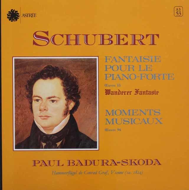 スコダのシューベルト/さすらい人幻想曲&楽興のとき 仏ASTREE 3146 LP レコード