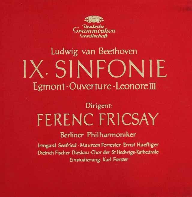 フリッチャイのベートーヴェン/交響曲第9番「合唱付き」ほか 独DGG 3146 LP レコード