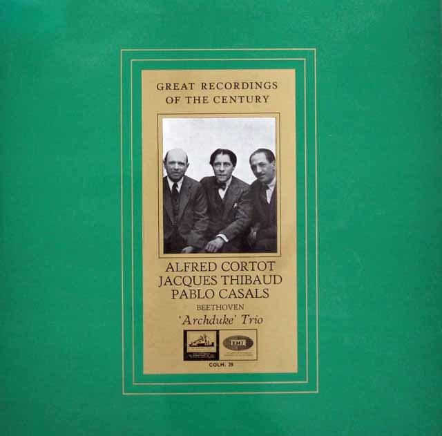 コルトー、ティボー&カザルスのベートーヴェン/ピアノ三重奏曲「大公」 英EMI 3147 LP レコード