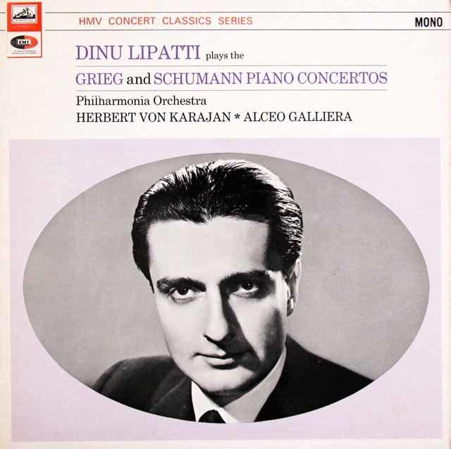 リパッティ & カラヤンらのグリーグ&シューマン/ピアノ協奏曲集 英EMI(HMV) 3147 LP レコード