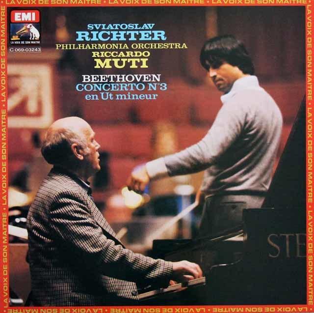 リヒテル&ムーティのベートーヴェン/ピアノ協奏曲第3番ほか 仏EMI 3147 LP レコード