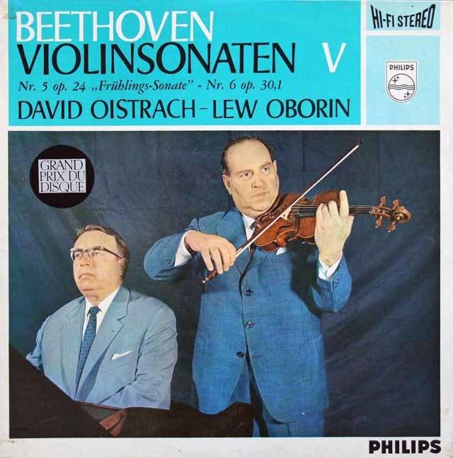 【オリジナル盤・特価】オイストラフ&オボーリンのベートーヴェン/ヴァイオリンソナタ「春」&第6番 蘭PHILIPS 3201 LP レコード