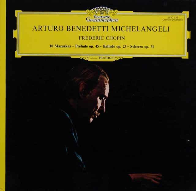 ミケランジェリのショパン/10のマズルカ、前奏曲第25番ほか 仏DGG 3201 LP レコード