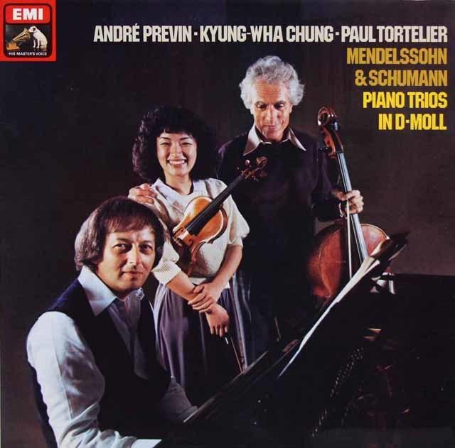 チョン、トルトゥリエ、プレヴィンのメンデルスゾーン&シューマン/ピアノ三重奏曲集 独EMI 3201 LP レコード