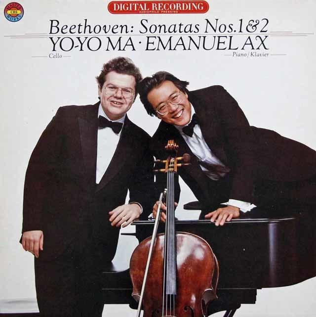 ヨーヨー・マ&アックスのベートーヴェン/チェロ・ソナタ 第1 & 2番 独CBS 3201 LP レコード