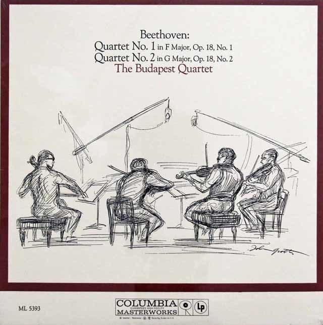 【未開封】 ブダペスト弦楽四重奏団のベートーヴェン/弦楽四重奏曲第1&2番 米CBS 3201 LP レコード