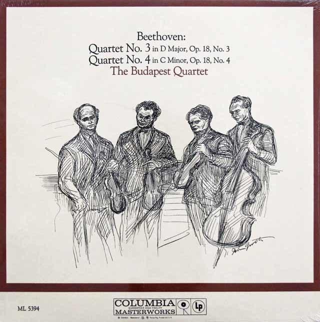 【未開封】 ブダペスト弦楽四重奏団のベートーヴェン/弦楽四重奏曲第3 & 4番 米CBS 3201 LP レコード