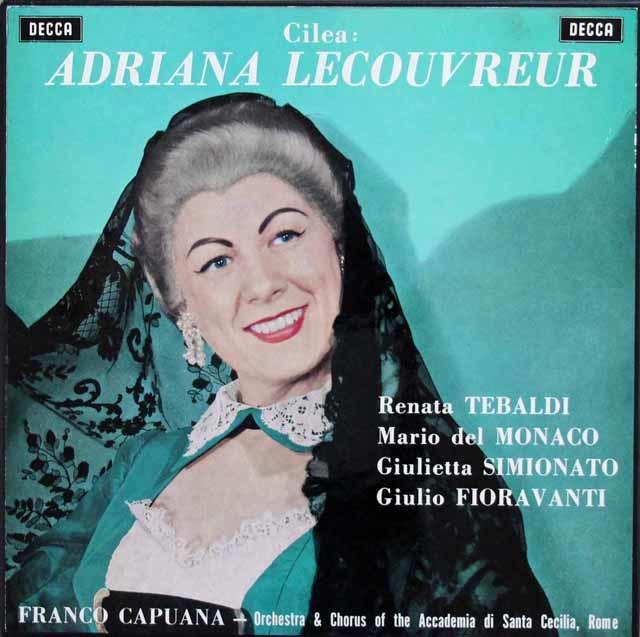 テバルディ、デル=モナコ&カプアーナのチレア/「アドリアーナ・ルクヴルール」全曲 英DECCA 3201 LP レコード