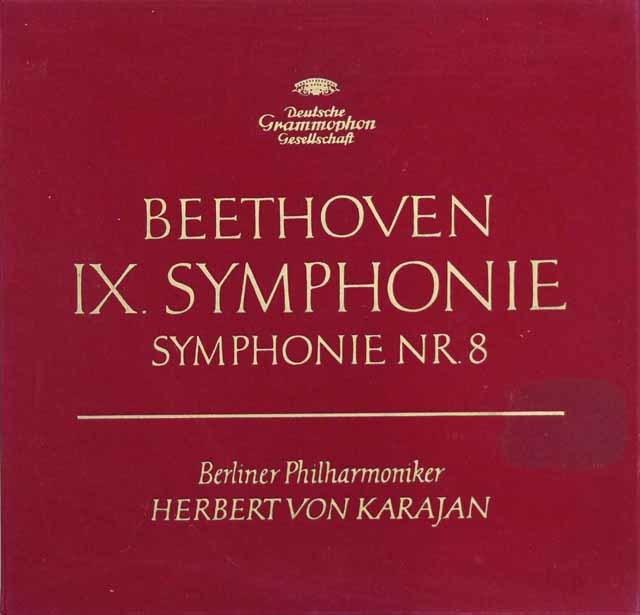 【独最初期盤/赤ステレオ】 カラヤンのベートーヴェン/交響曲第8&9番「合唱付き」 独DGG 3201 LP レコード