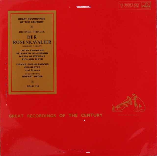 ロベルト・ヘーガーのR.シュトラウス/「ばらの騎士」全曲 英EMI 3202 LP レコード