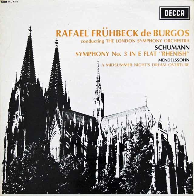 ブルゴスのシューマン/交響曲第3番「ライン」ほか 英DECCA 3202 LP レコード