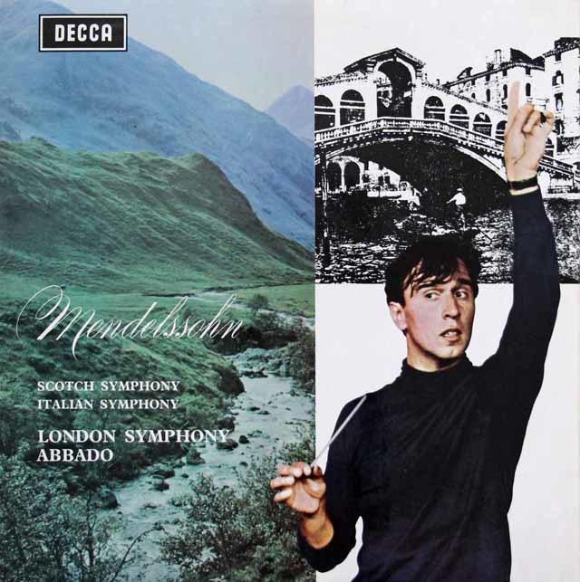 アバドのメンデルスゾーン/交響曲第3番「スコットランド」& 第4番「イタリア」 英DECCA 3202 LP レコード