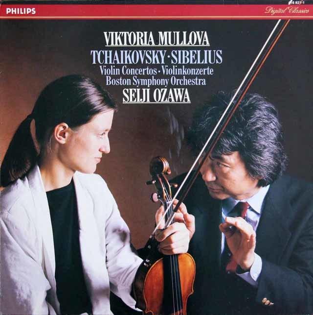 ムローヴァ&小澤のチャイコフスキー&シベリウス/ヴァイオリン協奏曲集 蘭PHILIPS 3203 LP レコード
