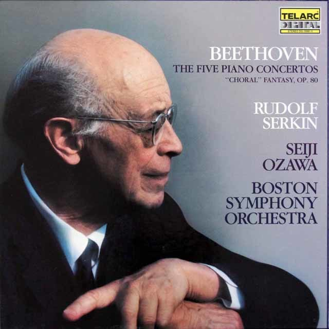ゼルキン&小澤のベートーヴェン/ピアノ協奏曲全集 独TELARC 3203 LP レコード