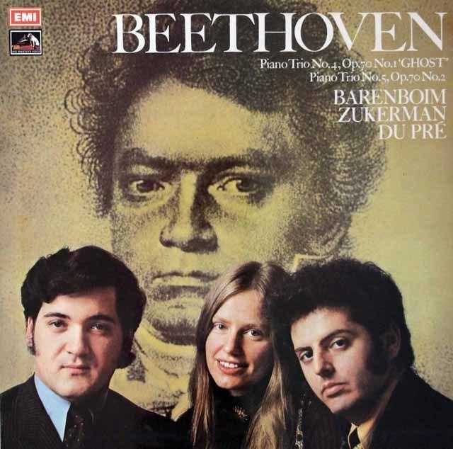 【オリジナル盤】 ズッカーマン、デュ・プレ&バレンボイムのベートーヴェン/ピアノ三重奏曲「幽霊」ほか 英EMI 3204 LP レコード