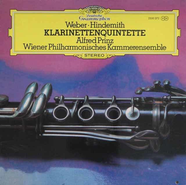 プリンツ&ウィーン室内合奏団のウェーバー&ヒンデミット/クラリネット五重奏曲 独DGG 3204 LP レコード