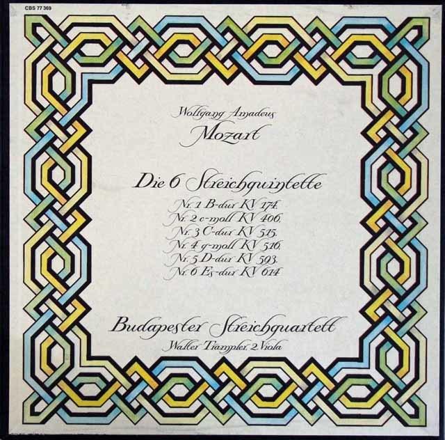 ブダペスト四重奏団&トランプラーのモーツァルト/弦楽五重奏曲全集 独CBS 3204 LP レコード