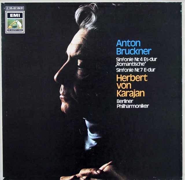 カラヤンのブルックナー/交響曲第4番「ロマンティック」&第7番 独EMI 3205 LP レコード