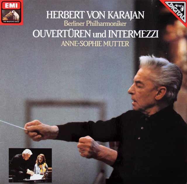 カラヤン&ムターのオペラ序曲、間奏曲集 独EMI 3206 LP レコード