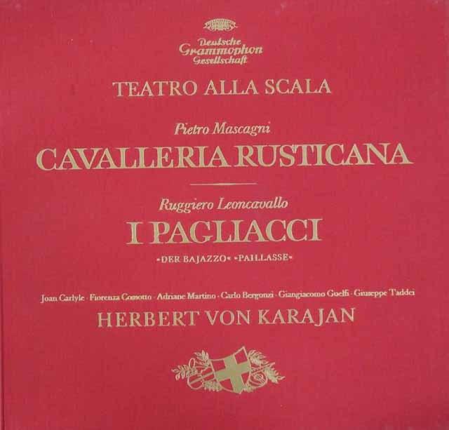【オリジナル盤】 カラヤンの歌劇「カヴァレリア・ルスティカーナ」&「道化師」 独DGG 3206 LP レコード