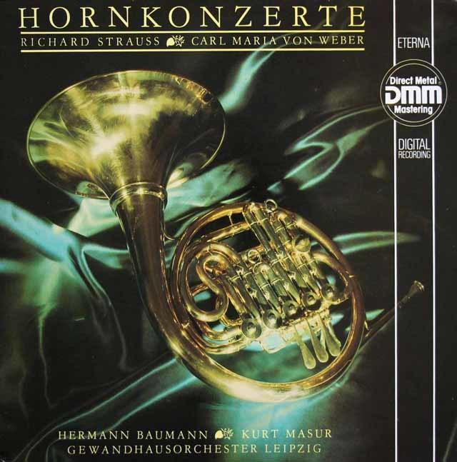 バウマン&マズアのR.シュトラウス/ホルン協奏曲第1&2番ほか 独ETERNA 3207 LP レコード