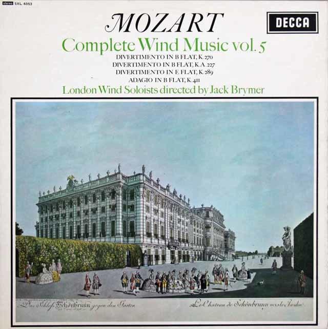 ブライマーのモーツァルト/管楽器のための音楽集 vol.5  英DECCA  3207 LP レコード