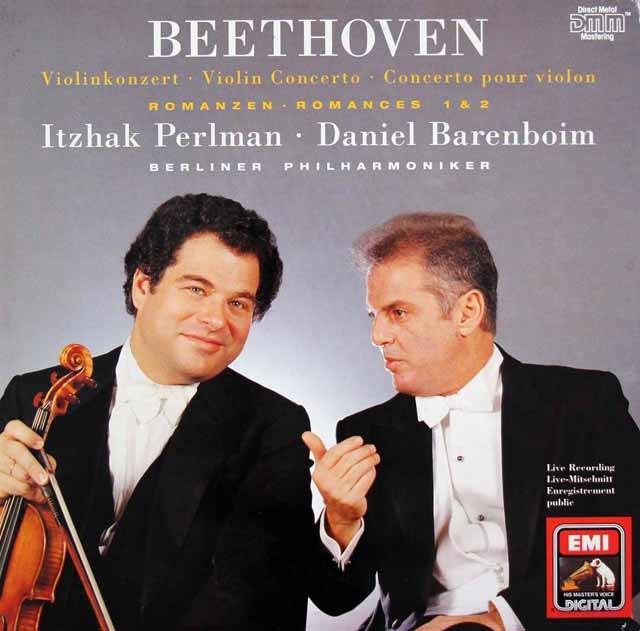 パールマン&バレンボイムのベートーヴェン/ヴァイオリン協奏曲ほか  独EMI 3207 LP レコード