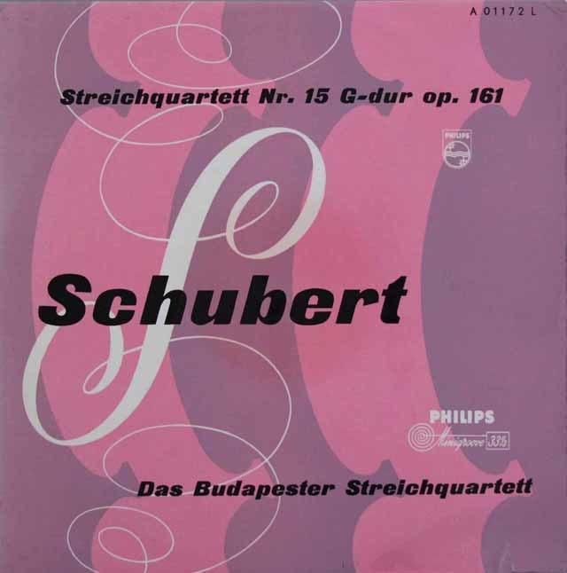 ブダペスト弦楽四重奏団のシューベルト/弦楽四重奏曲第15番 独PHILIPS 3207 LP レコード