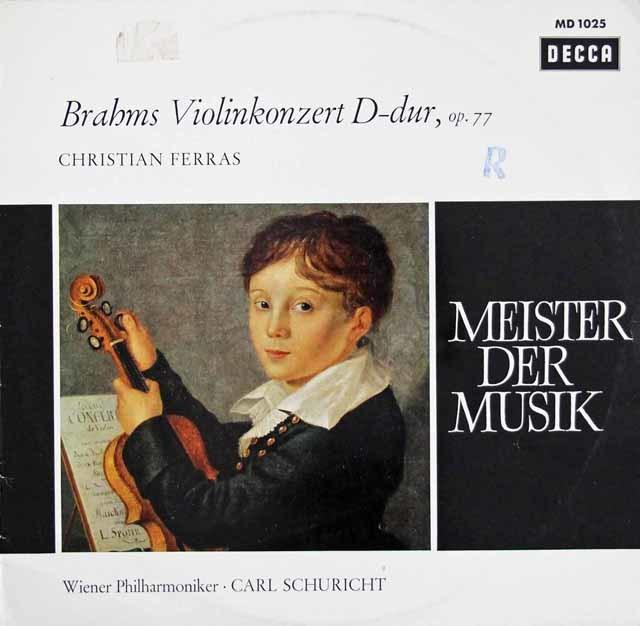 フェラス&シューリヒトのブラームス/ヴァイオリン協奏曲 独DECCA 3208 LP レコード