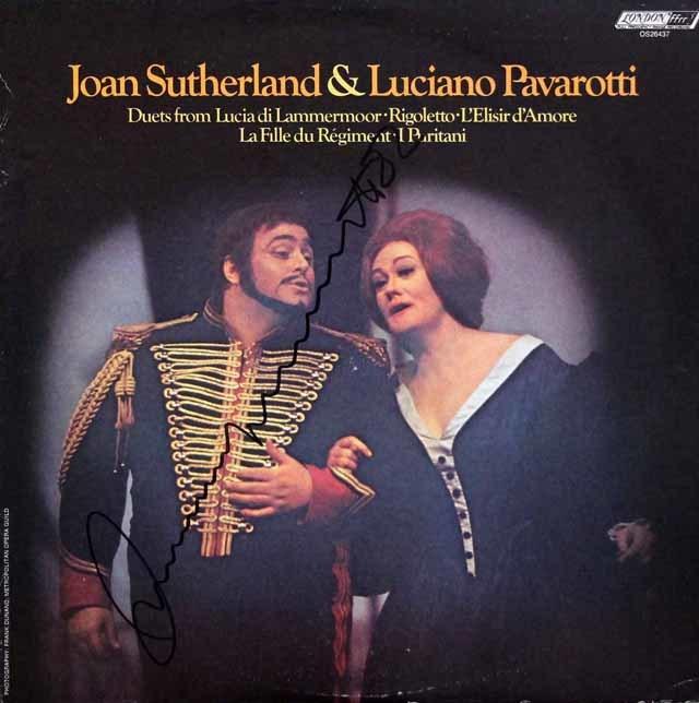 【直筆サイン入り】 サザーランド&パヴァロッティのオペラ・デュエット集 米LONDON 3208 LP レコード