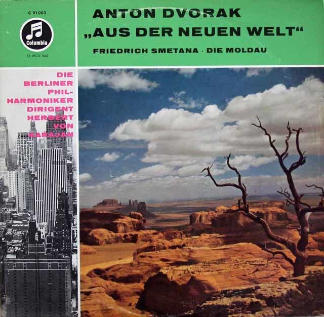 カラヤンのドヴォルザーク/交響曲第9(5)番「新世界より」&スメタナ/「モルダウ」 独Columbia 3209 LP レコード